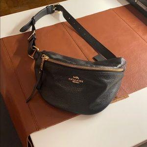 Coach Black Leather Waist Bag